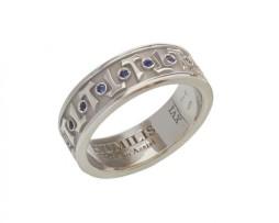 HUMILIS AN.AG.AQUA Anello classico HUMILIS AQUA in argento 925 rodiato con zirconi blu zaffiro 195 euro