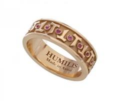 HUMILIS AN.AG.FOCU Anello classico HUMILIS FOCU in argento 925 placcato oro rosa 22 kt con zirconi rosso rubino 195 euro