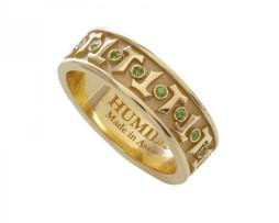 HUMILIS AN.AG.TERRA Anello classico HUMILIS TERRA in argento 925 placcato oro giallo 24 kt con zirconi verde smeraldo 195 euro