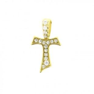 HUMILIS CR AG 1G ZC Croce Tau HUMILIS in argento 925 placcato oro giallo 24 Kt con zirconi 45 EURO