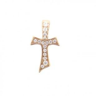 HUMILIS CR.AG.1R.ZC Croce Tau HUMILIS in argento 925 placcato oro rosa 22 Kt con zirconi 45 EURO