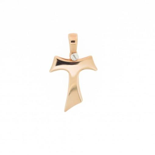 HUMILIS CR.AG.2R Croce Tau HUMILIS in argento 925 placcato oro rosa 22 Kt (vite a fissaggio della contromaglia in argento 925 rodiato) 39 EURO
