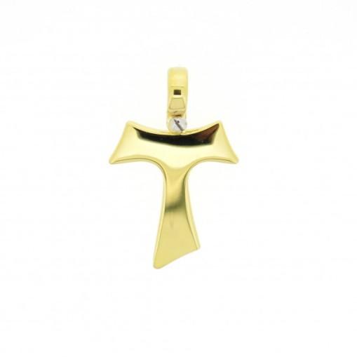 HUMILIS CR.AG.3G Croce Tau HUMILIS in argento 925 placcato oro giallo 24 Kt (vite a fissaggio della contromaglia in argento 925 rodiato) 59 EURO
