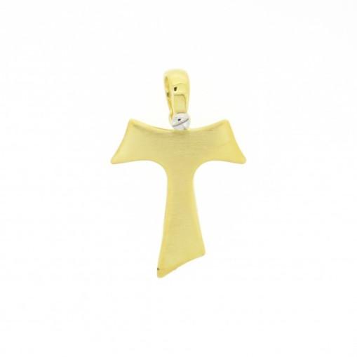HUMILIS CR.AG.3G.S Croce Tau HUMILIS in argento 925 satinato placcato oro giallo 24 Kt (vite a fissaggio della contromaglia in argento 925 rodiato) 59 EURO