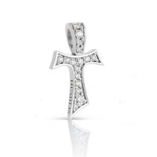 HUMILIS CR.AU.AERE Croce Tau HUMILIS AERE in oro bianco 18 kt con diamanti naturali taglio brillante ct. 0.14 695 EURO