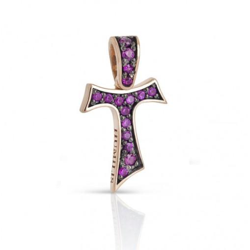 HUMILIS CR.AU.FOCU Croce Tau HUMILIS FOCU in oro rosa 18 kt con rubini ct. 0.15 425 EURO
