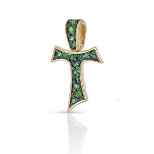 HUMILIS CR.AU.TERRA Croce Tau HUMILIS TERRA in oro giallo 18 kt con smeraldi ct. 0.15 425 EURO